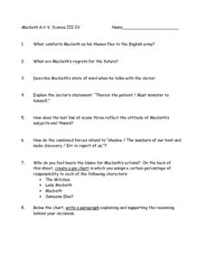 Macbeth Act V, Scenes III-IV Worksheet