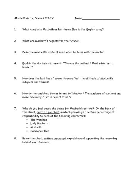 Macbeth Act V, Scenes III-IV Worksheet for 9th - 12th Grade
