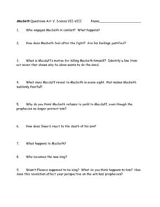Macbeth Study Questions, Act V, Scenes VII-VIII Worksheet