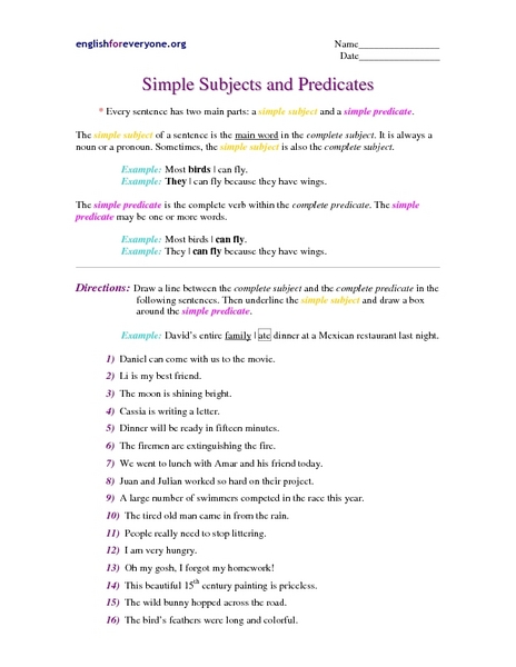 Simple Subjects And Predicates Worksheet For 7th - 8th Grade Lesson Planet