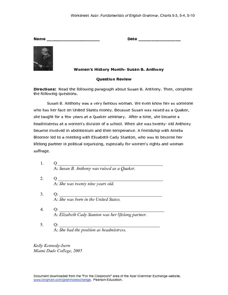questions on susan b anthony What are important questions and answers on susan b anthony 1 following  4 answers 4 report abuse  susan b anthony lectured (1851–60) on women's rights and on abolition  i think this question violates the community guidelines chat or rant, adult content,.