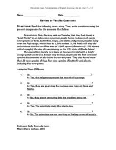 Review of Yes/No Questions Worksheet
