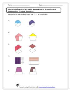 comparing fractions with like numerators or denominators worksheet for 3rd 6th grade lesson. Black Bedroom Furniture Sets. Home Design Ideas