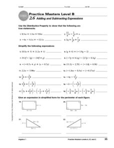 Practice Masters Level B: 2.6 Adding & Subtracting Expressions Worksheet