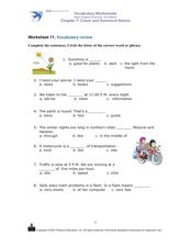 Worksheet 11. Vocabulary Review Worksheet