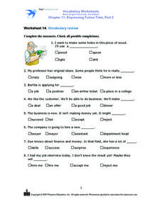 Worksheet 14  Vocabulary Review Worksheet