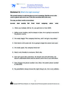 Worksheet 12 What's the Right Meaning? Worksheet