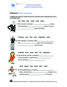 Worksheet 3 Colors and Clothes Worksheet
