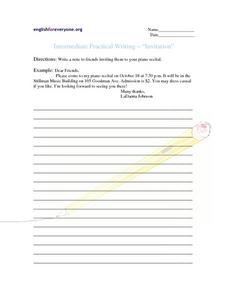 "Intermediate Practical Writing-  ""Invitation"" Writing Prompt"