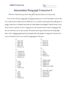 Intermediate Paragraph Correction #9 Worksheet