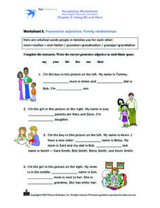 Worksheet 5: Possessive Adjectives: Family Relationships Worksheet