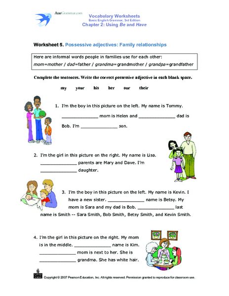 Possessive Adjectives Lesson Plans & Worksheets Reviewed by Teachers