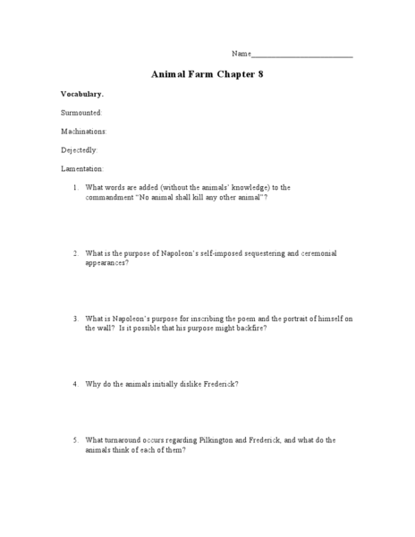 Animal Farm Chapter 8 Lesson Plan