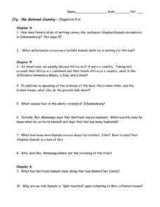 Cry, the Beloved Country Chapters 4-6 Worksheet