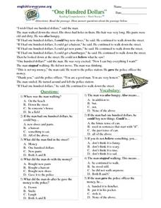 """One Hundred Dollars"" Reading Comprehension Worksheet"
