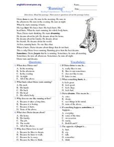 Running Reading Comprehension - Short Stories Worksheet