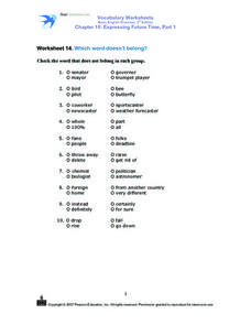 Which Word Does Not Belong In the Group? Worksheet