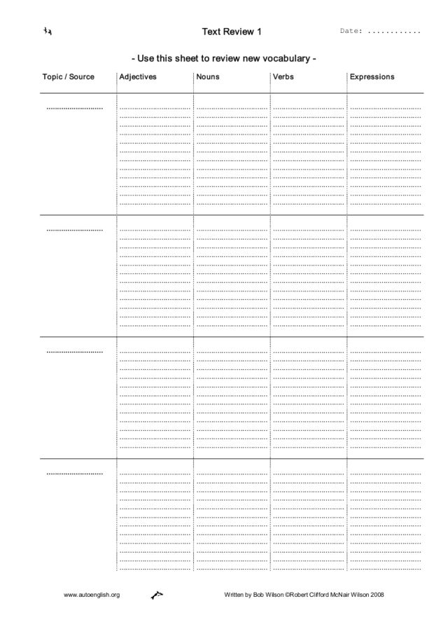 Vocabulary Review Worksheet for 3rd   5th Grade   Lesson ...