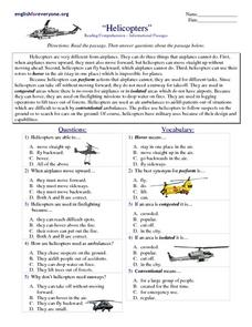 Helicopters Worksheet