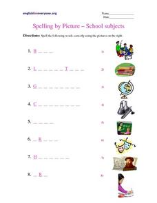 Spelling by Picture: School Subjects Worksheet