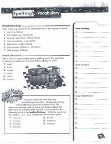 Spelling and Vocabulary Page 93 Worksheet