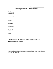 Durango Street: Chapter One Worksheet