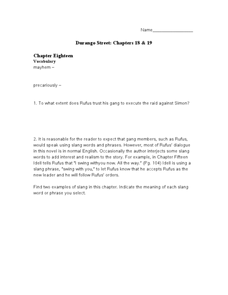 Durango Street: Chapters 18 & 19 Worksheet