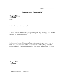 Durango Street: Chapters 15-17 Worksheet