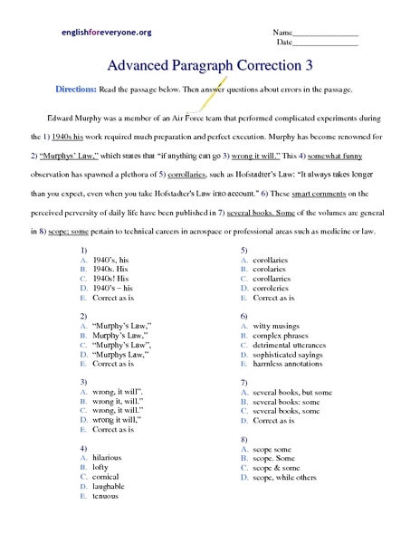 Advanced Paragraph Correction 3 Worksheet For 5th 7th