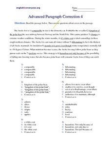 Advanced Paragraph Correction #4 Worksheet