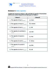 Worksheet 11. Verbs: Opposites Worksheet