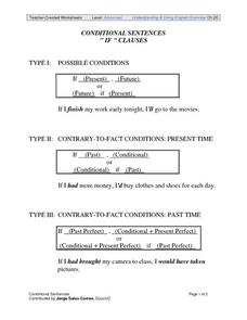 "Conditional Sentences ""If"" Clauses Worksheet"
