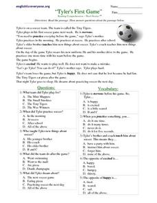 Tyler's First Game Worksheet