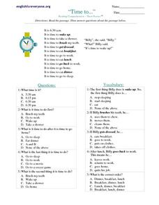 """Time to..."" Worksheet"