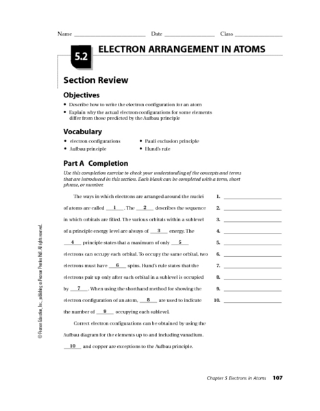 Electron Arrangement in Atoms Worksheet for 10th - 12th Grade ...