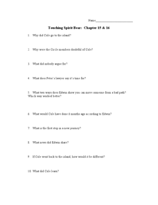 Touching Spirit Bear: Chapter 15 & 16 Worksheet