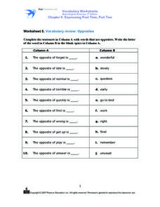 Worksheet 5. Vocabulary Review: Opposites Worksheet