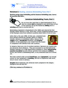 Worksheet 4. Reading: Jamaican Bobsledding Team, Part 1 Worksheet