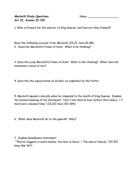 macbeth study guide questions act 3 essay Study guide hartford stage  3 attending live  macbeth – a general in the king's army and thane of glamis later becomes thane of cawdor and king of scotland.