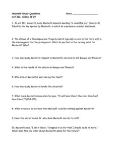 Macbeth Study Questions: Act III, Scene II-IV Worksheet