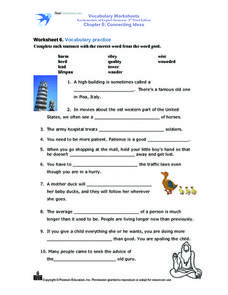Worksheet 6. Vocabulary Practice Worksheet