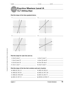 Practice Masters Level A: 5.2 Defining Slope Worksheet