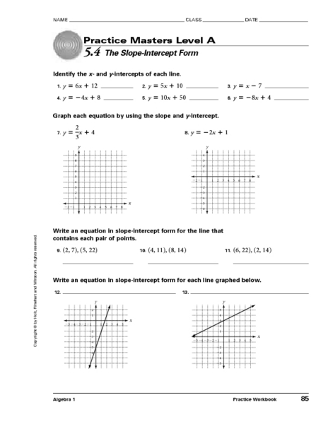5.4 The Slope-Intercept Form Worksheet For 9th - 11th Grade Lesson Planet