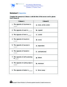 Worksheet 7. Opposites Worksheet