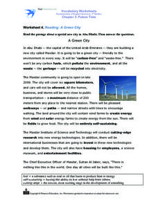 Worksheet 4. Reading: A Green City Worksheet