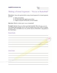 "Making a Formal Argument - ""Soccer or Basketball"" Writing Prompt"
