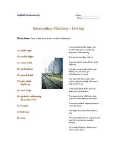 Intermediate Matching - Driving Worksheet