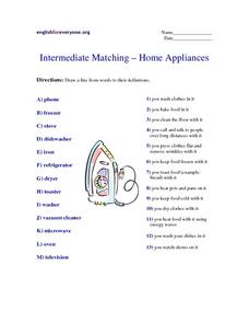 Intermediate Matching - Home Appliances Worksheet