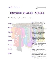 Intermediate Matching - Clothing Worksheet