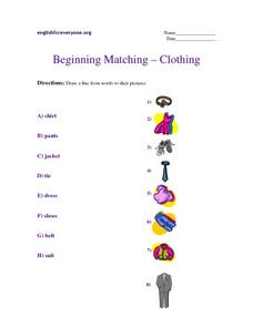Beginning Matching - Clothing Worksheet